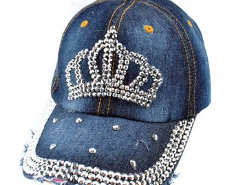 Crown Rhinestone Embellished Denim Baseball Cap