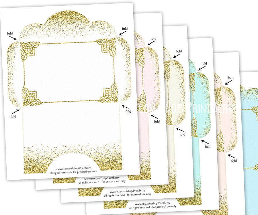 Printable Envelope Template Gold Glitter Envelopes X Envelopes