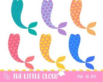 Mermaids tails clip art, diy party, vector, fairy tale, kids birthday