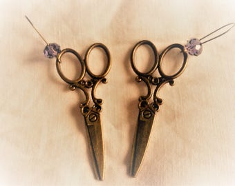 bronze scissors earrings