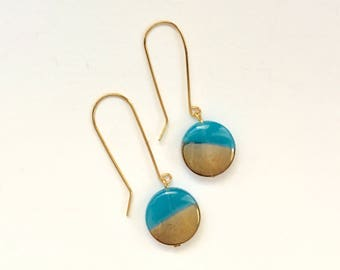 Teal and Gold Drop Earrings, Vintage Glass Earrings, Gold Earrings, Statement Earrings