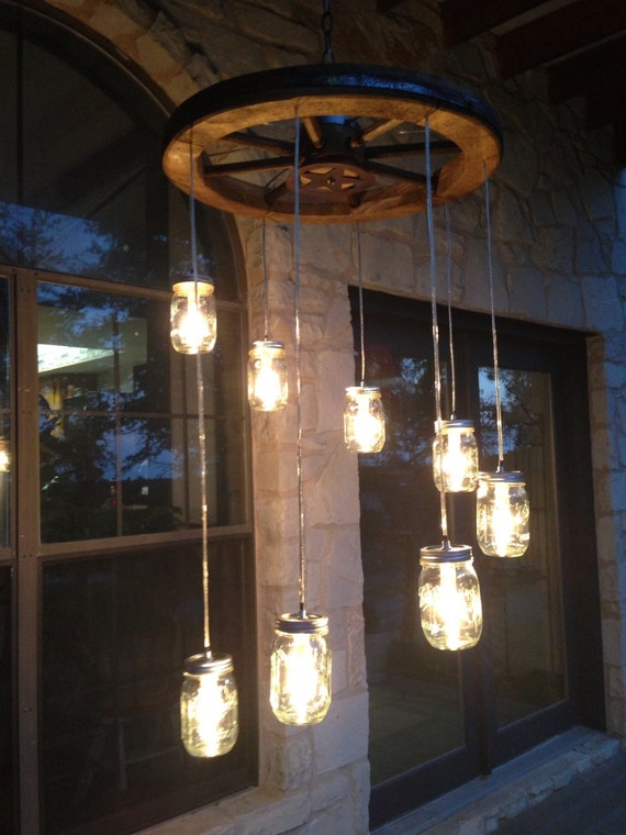 Awesome Spiral Wagon Wheel Mason Jar Chandelier Small Nice Design