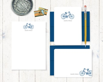 complete personalized stationery set - VINTAGE BOYS BICYCLE - personalized stationary - bike note cards - notepad - mens bike card