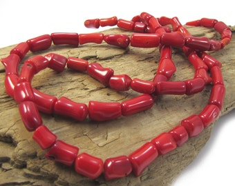 Red Bamboo Coral Branches, 15 inch Strand, 8x5mm-12x8mm Red Coral Branches, Red Coral Beads, Beading Supplies, Item 1315gsc