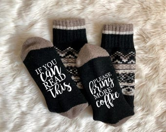 Coffee Socks Bring Me Coffee If You Can Read This Brew KCup Christmas White Elephant Stocking Stuffer Office Gift Wool Wino Xmas Holiday