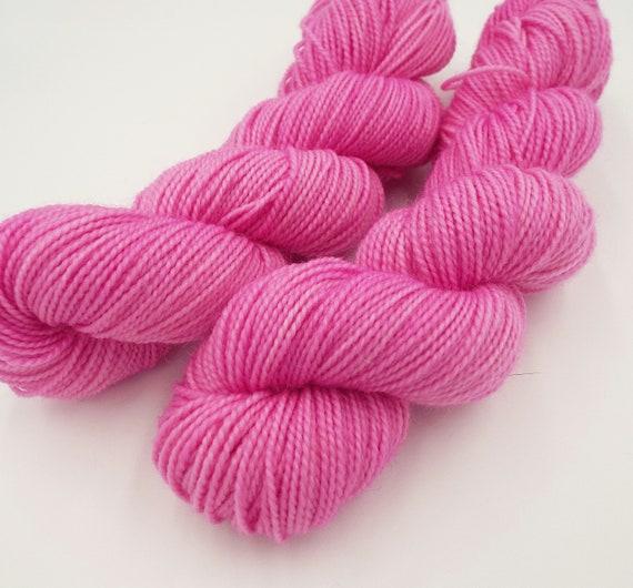Hand Dyed Sock Yarn Superwash Wool Nylon 80/20 Fingering Weight Yarn Sock Yarn - 50 Grams Tonal Yarn Semi Solid Bubble Gum Pink Yarn