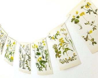 Botanical Bunting, Yellow Flower Bunting. Spring Bunting, Wedding Decorations. Wedding backdrop, Eco-friendly banner. Pennants