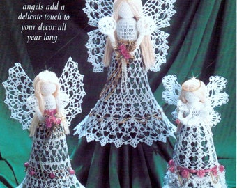 INSTANT DOWNLOAD PDF Vintage Crochet Pattern  Angels Three Designs  Christmas Tree Decorations Holiday Ornament Tree Trims