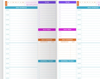 Traveler's Notebook Printable Insert - Daily View - Schedule, Notes, To Buy, Undated, Colorful, Meal & Water Tracker