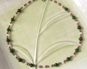 Green Jade and Rose Quartz Gemstone Necklace