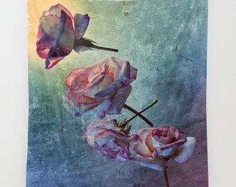 Look Back In Time, Wall Tapestry, Rose Large Wall Art, Flower Home Decor, Wedding Gift, Floral, Office, Dorm Room, Drama,Blue Pink Tapestry