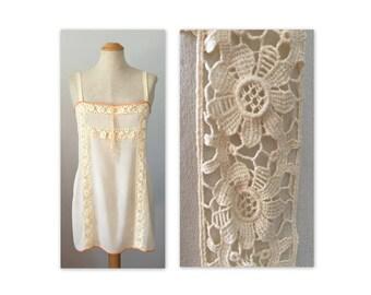 Vintage 20s Silk Chemise S Cotton Lace Inserts Lingerie Flapper Undergarment