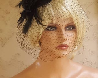 Black Fascinator with French net birdcage veil,  Black Widow Headpiece,  black veil, black rose fascinator, Feathers,  Halloween Bride black
