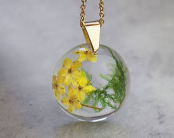 Real moss necklace Woodland necklace Pressed flower necklace Nature lover gift Real flower jewelry