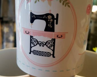 Mug 'Passion stitching and buttons' ceramic. Gift idea for lovers!
