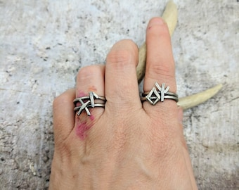 Witch Runes Stacker Rings, sabbat gift for witch or wiccan, occult jewelry, protection or love spelled witch jewels, personalized stacker