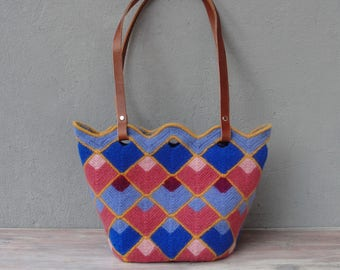 Knitted Felted Wool Bag Geometric Fun, Checked Purse