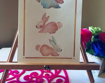 spring bunnies,spring,spring decor,easter,decor,nursery,original watercolor,wall art