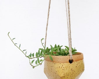 Small Ceramic Hanging Planter in Yellow / House Plants, Succulents, Air Plants or Cacti / The Valley Planter / READY TO SHIP