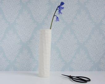 Clay Bud Vase, flower vase, vase, contemporary flower vase, unglazed porcelain vase, modern pottery vase, wedding, birthday, Mother's Day