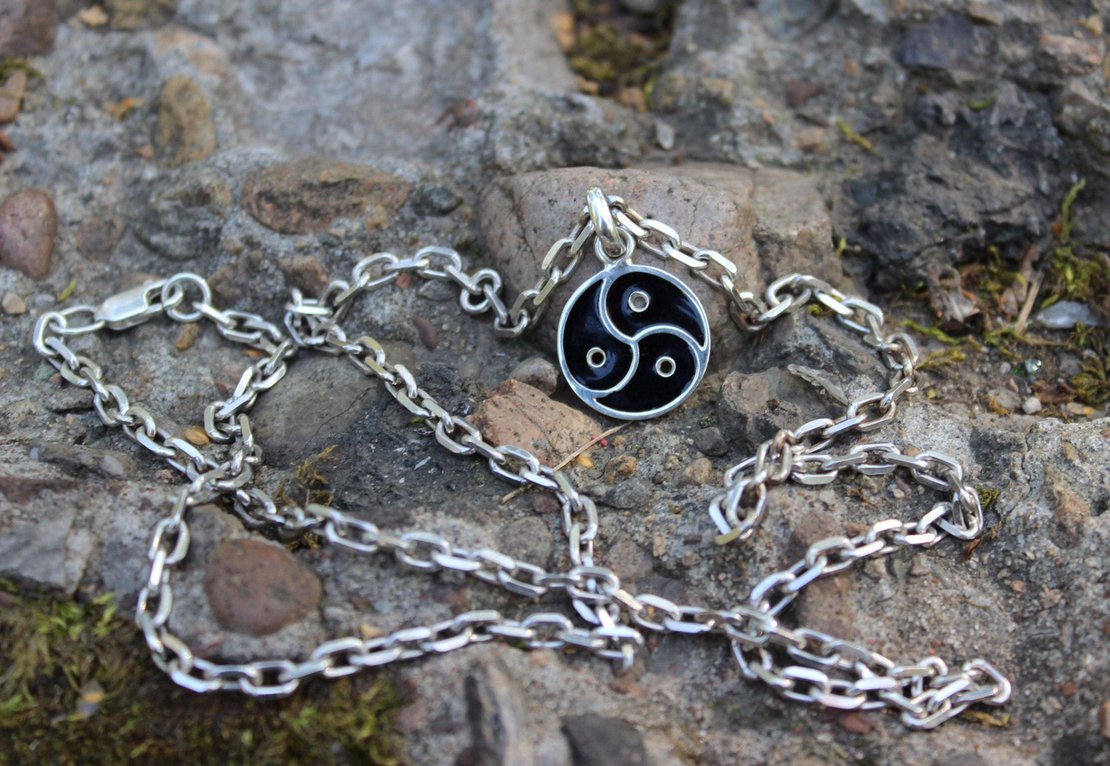 Sterling silver pendant bdsm symbol tryskel with sterling zoom biocorpaavc Gallery