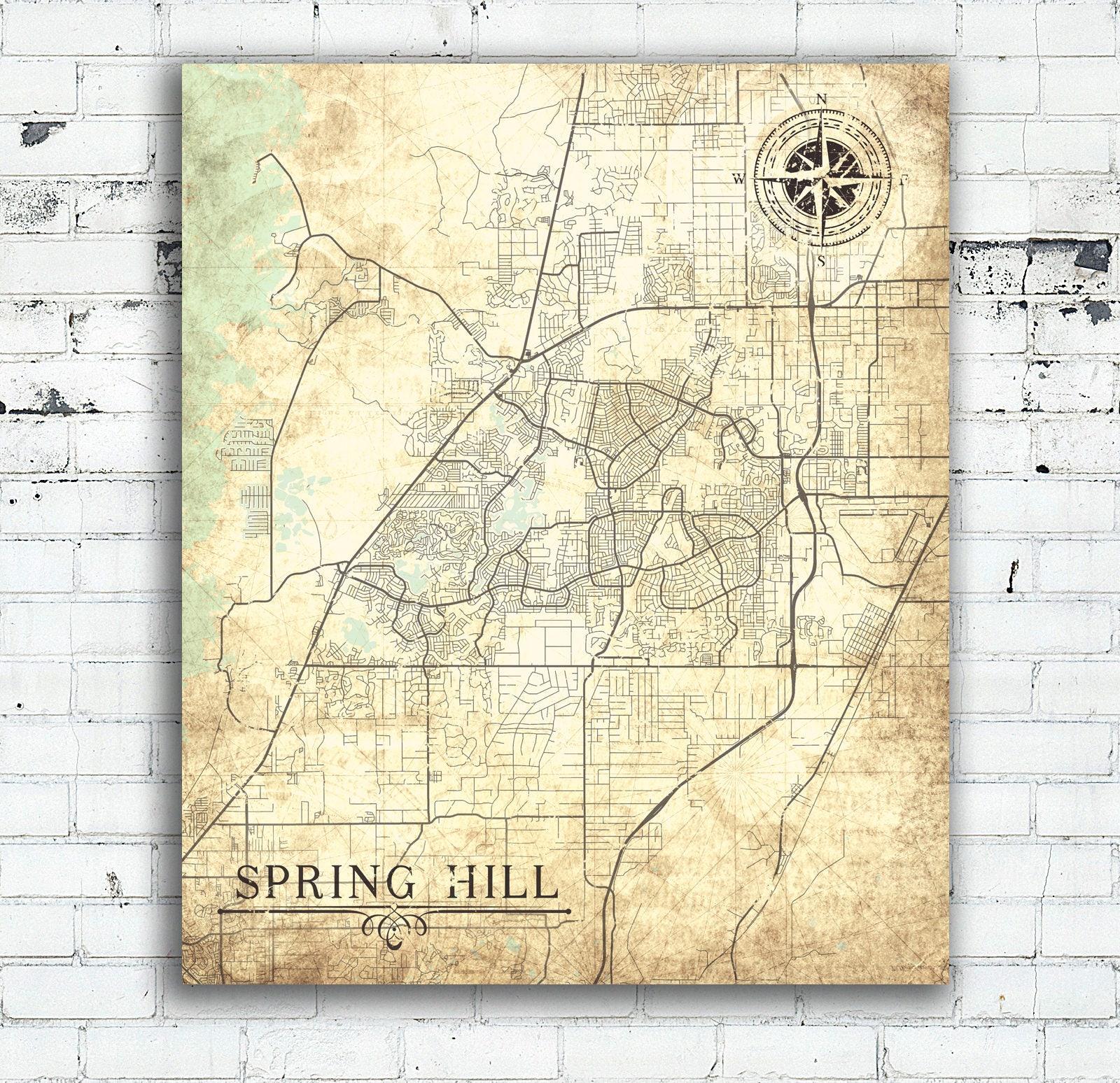 SPRING HILL FL Canvas Print Florida Fl Vintage map Spring Hill