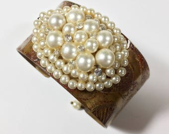 Etched Brass Cuff with Vintage Faux Pearl Rhinestone Bracelet - Free Domestic Shipping
