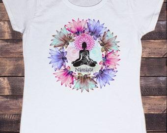 Women's T-Shirt Three Beautiful Namaste Buddha Lotus Meditation Zen Print TSZ4