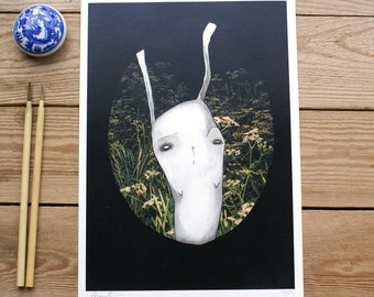ART PRINTS//bunny in the garden // illustration