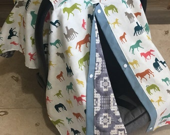 Horse carseat canopy, baby car seat canopy cover, baby shower gift, southwest wild horses