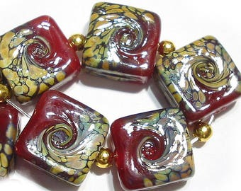 Curried Reds Tiles, SRA Handmade Glass Lampwork Beads