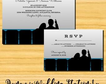 DIY Digital Printable Movie Theater Wedding Invite and RSVP Card