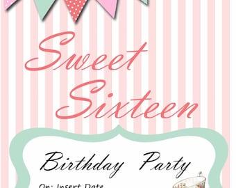 Sweet 16 invitation, Tea Party Invitation, Custom Party Invitation, Digital Download, Custom Orders, Birthday Party, Editable invitation
