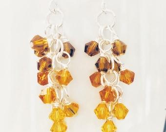 Sunflower Citrine Light Topaz Swarovski Crystal Beads Ombre Earrings