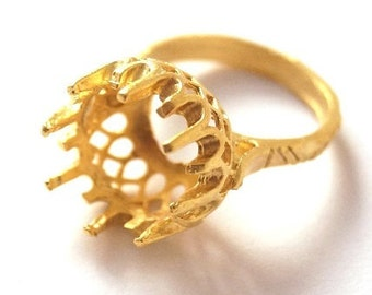 2 pcs- Matte Gold Plated Authentic Bead Glue Ring base-20x20 mm( 010-034GP)