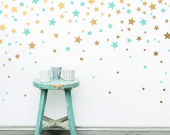 Star Wall Decals - Vinyl Wall Decals, 2-Color Star Decals, Nursery Wall Decals, Star Wall Stickers, Removable Wall Decals