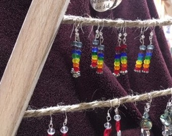 Rainbow Beaded Earrings - dangle