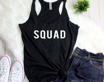 Bachelorette Coordinating Tank Tops - SQUAD - Team Bride Wedding Day Women's Racerback Tank