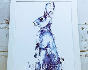 Blue Rabbit - Giclée print