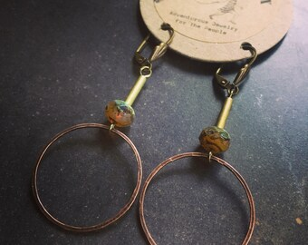 Circus Circle Earrings ~ Czech Beads & Brass