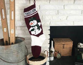 Hand Knit Christmas Stocking - Full Body Snowman