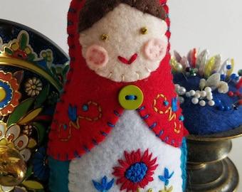 Handmade Felt Matryoshka Doll - Embroidered Bright Red Aqua Blue Olive Green - Green Eyes - Heirloom Style - Russian Baby Doll - OOAK
