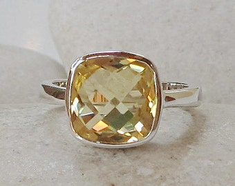 Yellow Topaz Stacking Ring- Square Shape Yellow Ring- Yellow Quartz Ring- Sterling Silver Gemstone Ring- Simple Minimalist Ring