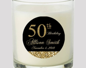 """50th Birthday Black and Gold  2"""" Favor labels Great for personalizing your events Candles, cupcake toppers Mason Jar decals, Stickers"""