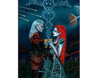 2 Of Cups ACEO print Tarot Space Romance Love Constellation Stars Planets Alien Science Fiction Artist Trading Cards ATC Fantasy Art