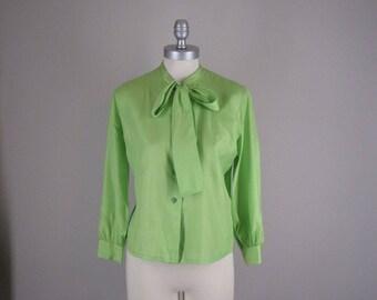 1960s Silk Blouse / 60s Bright Green Silk Bow Blouse
