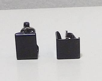 Small Black Clip On Earrings, Square shaped, Painted, Enameled, Never Worn, Vintage 80s, Costume Jewelry