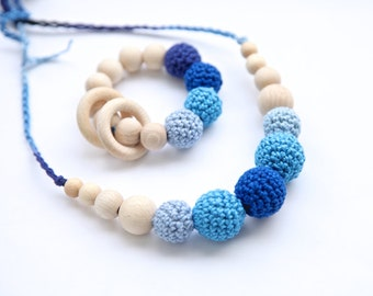 Set of 2. Natural nursing rings necklace and teething ring toy. Shades of blue new mom and baby set