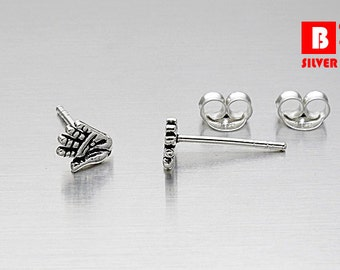925 Sterling Silver Earrings, Hand Earrings, Stud Earrings (Code : K14A)