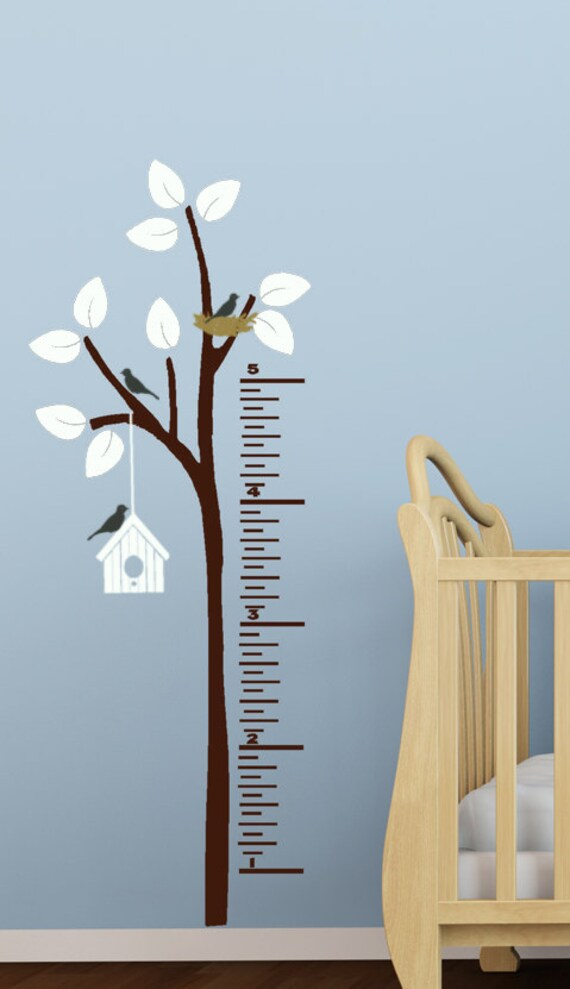 Childrens growth chart vinyl decals for kids tree and birds